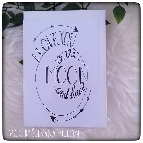 Valentijnskaart - I love you to the moon and back
